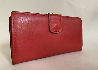 Vintage 1980s Red Smooth Leather Coin Purse Wallet Plum & Red Leather Lining