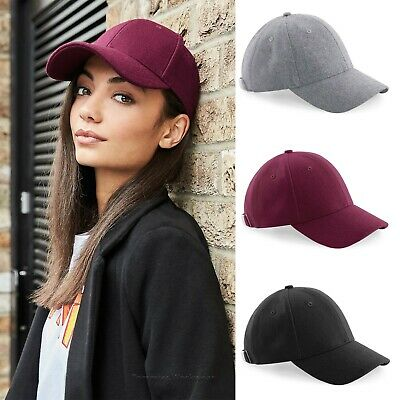Melton Wool Baseball Cap 6 Panel Premium Hat Mens Womens Ladies Headwear