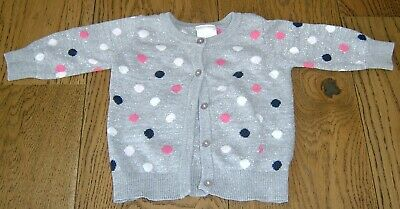 Seed Heritage Baby Girls  Gre And Silver Cardigan Sz  3 - 6 Months