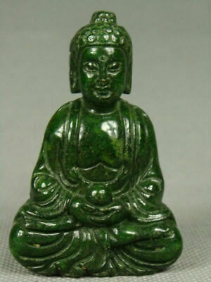 Chinese Old Handwork Green Jade Carving Buddha Pendant Netsuke