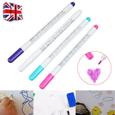 4Pcs Air Erasable Pen Water Soluble Pen Vanishing Fabric Marker for Sewing UK H