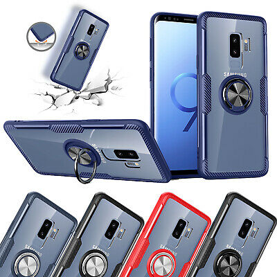 For Samsung S10 Case S9 Plus S10e 5G Clear Magnetic Ring Holder Glass Back Cover