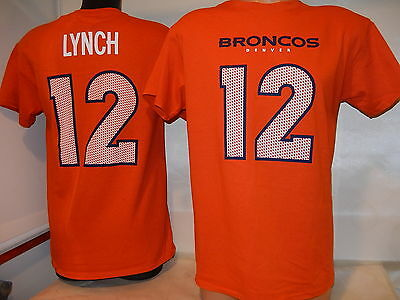 "9806 MENS Denver Broncos PAXTON LYNCH ""Eligible Receiver"" Jersey Shirt ORANGE"
