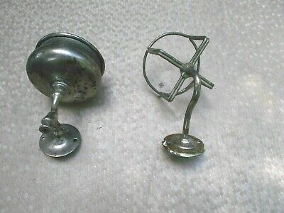 2 Antique Victorian Nickel Plated Wall Mounted Bathroom SHAVING Cup/ Holders?