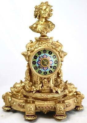 Antique Mantle Clock Stunning French Gilt & Rare Sevres Figural Striking C1880