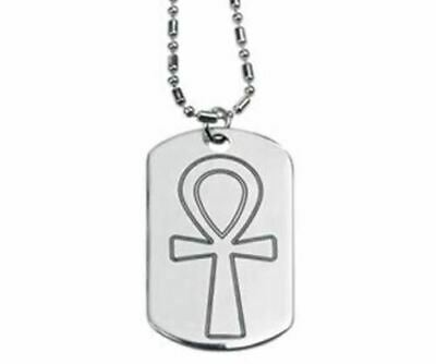 """Design Doranne Ancient Egyptian Ankh Dog Tag Lead Free Pewter Jewelry 2""""L"""