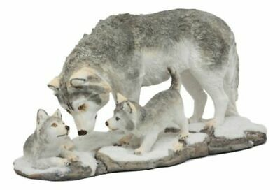 """Resin Denizens Of Twilight Snow Wolf Mother And Pups Family Statue Decor 9.75""""L"""
