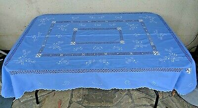 Vintage Drawn Thread & Embroidered Blue & White Tablecloth With 8 Napkins