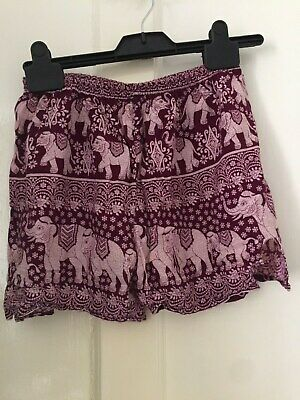 Purple/pink hippy elephant material shorts