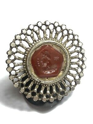 Original Antique Carnelian Intaglio King Face Shield Sterling silver ring