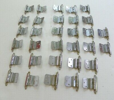 16 Sets Vintage Mid Century Polished Chrome Hinges, Mcm W/ Screws, 32 Hinges