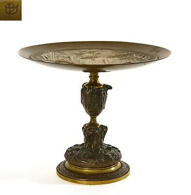 Antique Victorian Neo-Classical Art Nouveau Bronze Compote Tazza Stem Plate Mk