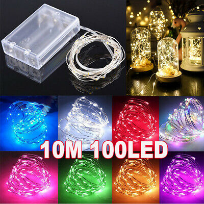 10M 100 LED Fairy String Lights Battery Micro Rice Wire Copper Party white RGB