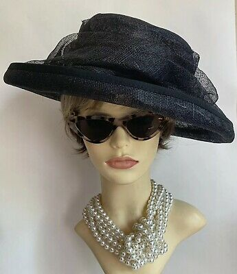Sinamay Black Dress Hat Weddings Funeral Church Races With Wrap Around Detail