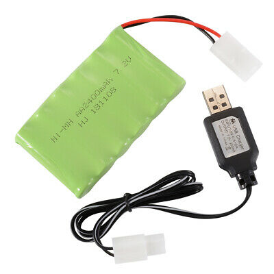 7.2V 2400mAh Rechargeable NiCd Battery KTE Plug+USB Charger Cable for Toys BC784