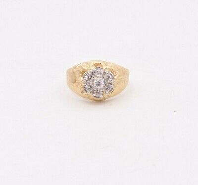 Men's Round Textured Flower Set CZ Ring Real Solid 10K Yellow Gold