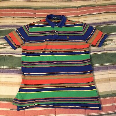 POLO RALPH LAUREN striped Native Polo Shirt MEDIUM