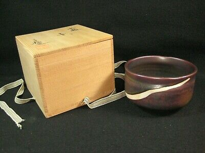 Vintage Japanese Signed Tea Ceremony Ceramic Chawan Tea Bowl W/ Original Box