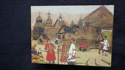 Illustrated Jewelry Box - Wood Burning with Hand Painting Russian Village Scene