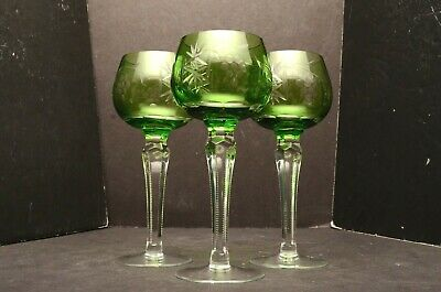 Set 3 Lime Green Bohemian Czech Cut To Clear Crystal Wine Hock Goblet Stem Glass