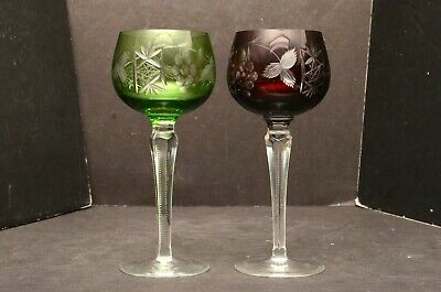 Set 2 Green Red Bohemian Czech Cut To Clear Crystal Wine Hock Goblet Stem Glass