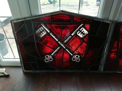 Antique crossed cross keys red Saint Peter stained glass church window Guernsey