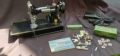 1955 Singer Featherweight 221 Sewing Machine w/ Case Manual & Attachments