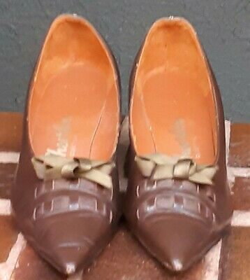 Leather pointy toe 1950's heels by 'Sheerline' size 7b