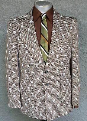 Diamond Checked 1970's polyester sports coat from USA, size L