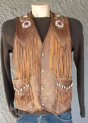 Leather Vest, Unisex, Tribal and shell adornments, fringing, USA, size L