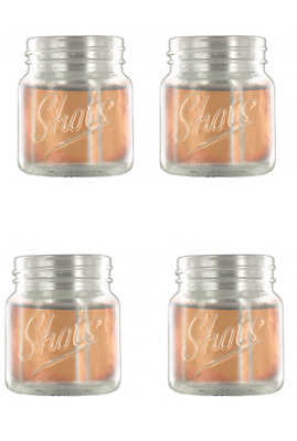 4x FOUR Pack Shot Glasses Set Clear Mini Mason Jar Glass Party Cups Catering Bar