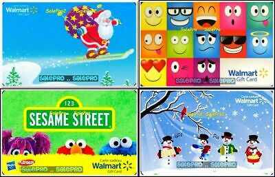 4x WALMART EMOJI CHRISTMAS SNOWMAN SANTA SESAME STREET COLLECTIBLE GIFT CARD LOT
