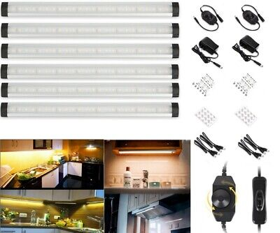 6pcs Kitchen Under Cabinet Shelf Counter LED Light Bar 1000lm Lighting Kit Lamp