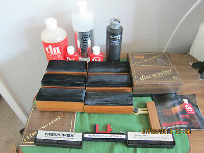 6 Vintage Discwasher Vinyl Record Brushes And 2 Big Bottles Of Cleaning Fluid