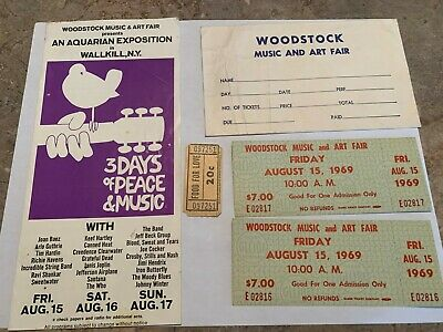 Woodstock 1969 Lot $7 Tickets Food Coupon Wallkill Order Form Flyer Jimi Hendrix