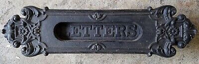 Antique Letter Mail Slot Ornate Cast Iron Victorian Post Office Box OLD hardware