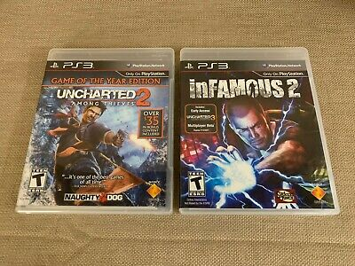 PlayStation 3 Uncharted 2 Among Thieves & InFamous 2 Mint Discs Fast Shippin PS3