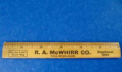 "Advertising Ruler Wood 6 "" R. A. McWhirr Department Store Antique Fall River MA"