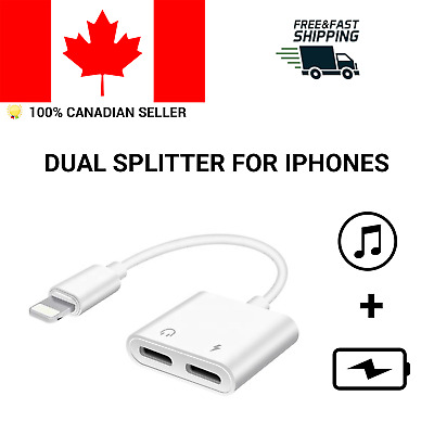 Dual Lightning Adapter Charging Splitter Audio Cable Double for iPhone 7 8 X S