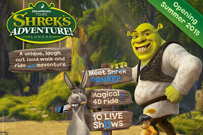 2 X tickets to Shreks Adventure London 21st September 2019 Saturday at 10a.m.