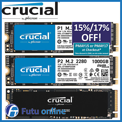 500GB 1TB Crucial P1 SSD M.2 PCIe NVME Internal Solid State Drive 2000MB/s