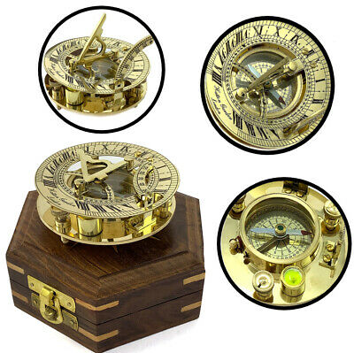 New Year Nautical Astrolabe Compass Sundial Graph Maritime Wooden Box Table