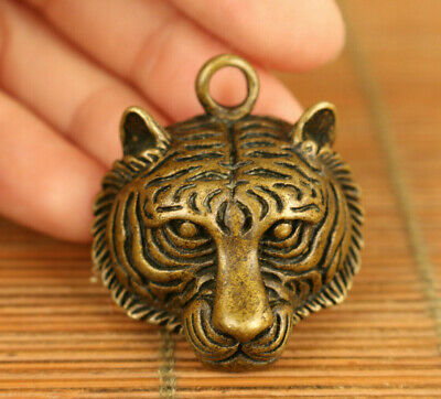 Chinese old bronze hand carving tiger head statue figure collect pendant netsuke