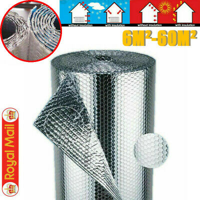 Double Insulation Foil Air Bubble Silver Aluminum Roll Loft Shed 10M-50M Length