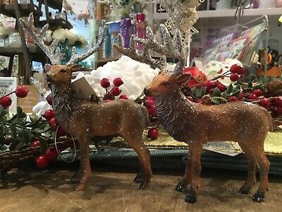 2 Gisela Graham Highland Stag Tree Decoration Christmas New Glitter Xmas Hanging