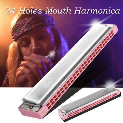 Music Harmonica 24 Holes Key of C Mouth Organ Stainless Steel Pink +Case TH1295