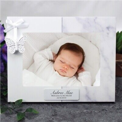 Personalised Baby Photo Frame 5x7 Butterfly - Unique Baby Gift