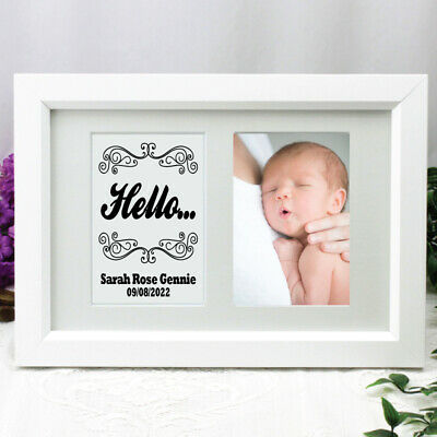 Baby Photo Frame Typography Print 4x6 White - Unique Baby Gift