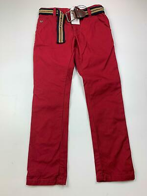 Bnwt Boys Jasper Conran Red Smart/Casual Belted Chino Trousers Kids Age 8 Years