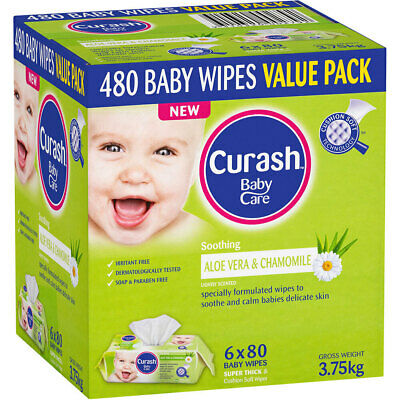 480PK Curash Babycare Aloe Vera & Chamomile Baby Wet Wipes for Nappy Change